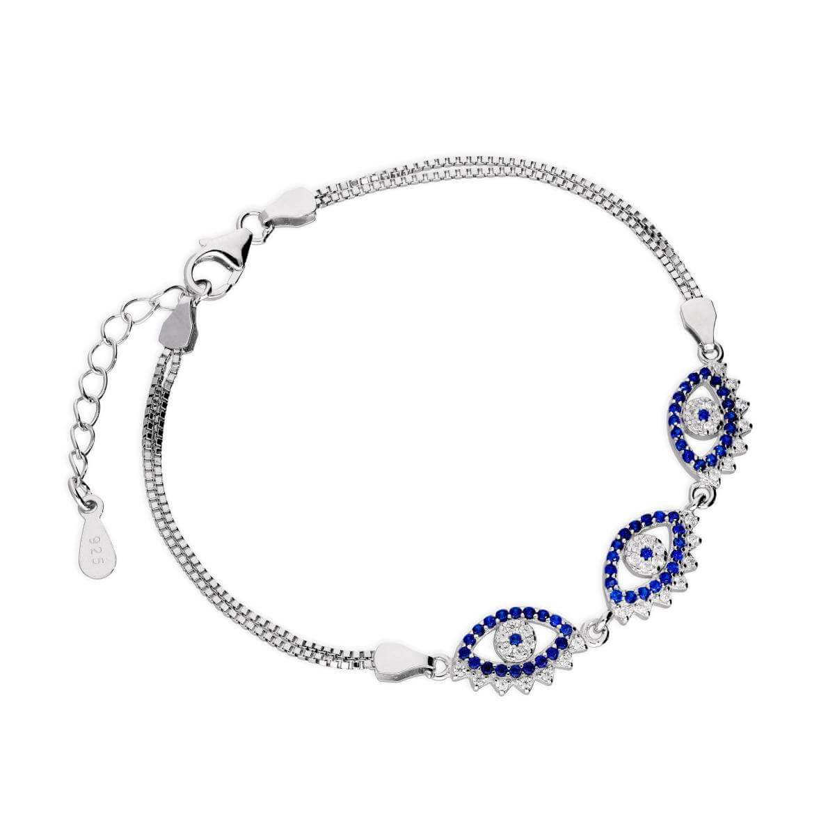 Sterling Silver & CZ Crystal Triple Evil Eye Bracelet