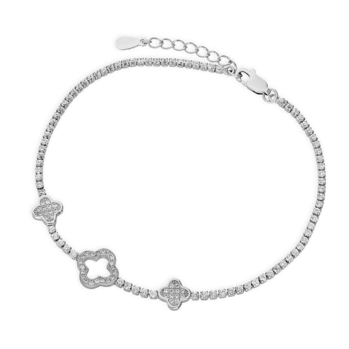 Sterling Silver & Clear CZ Crystal Flower Shape Bracelet