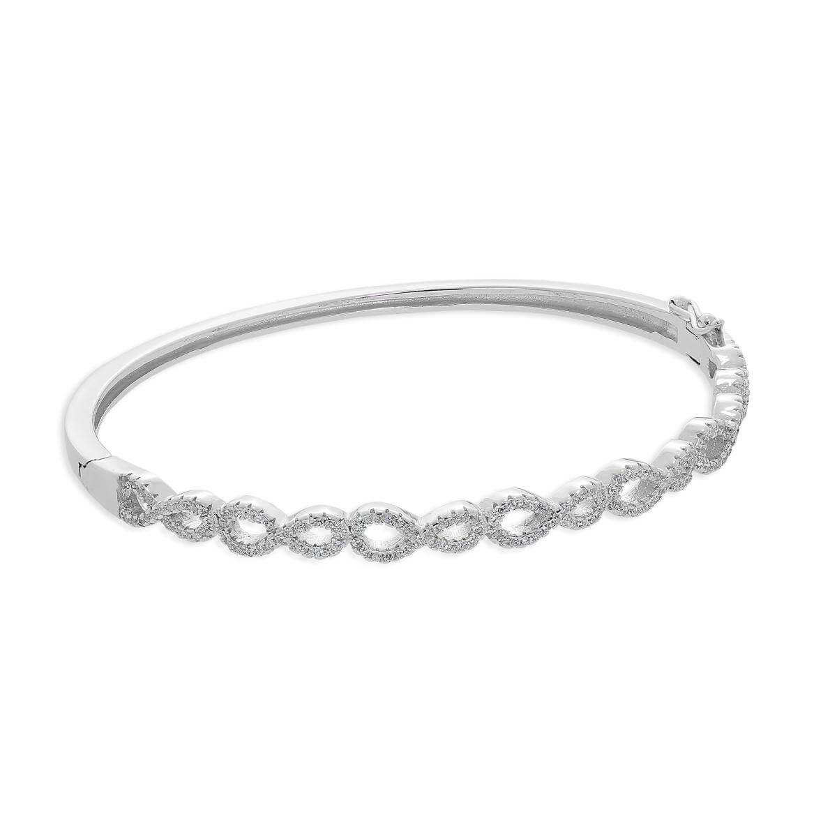 Sterling Silver & Clear CZ Crystal Infinity Symbol Hinged Oval Bangle