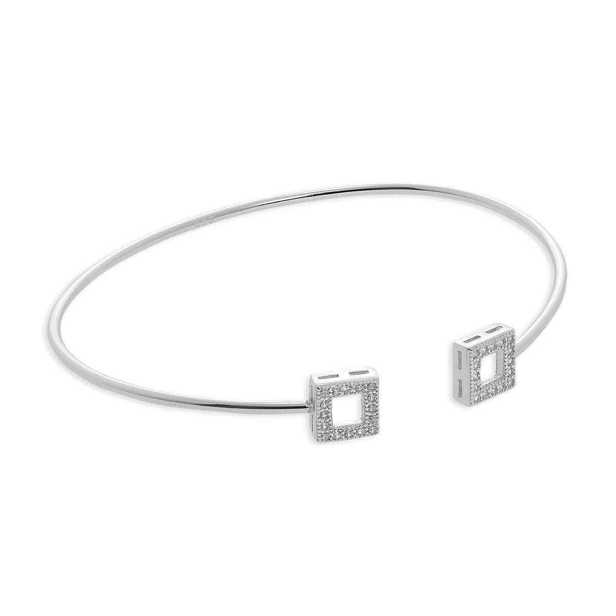 Sterling Silver & Clear CZ Crystal Squares Torque Bangle