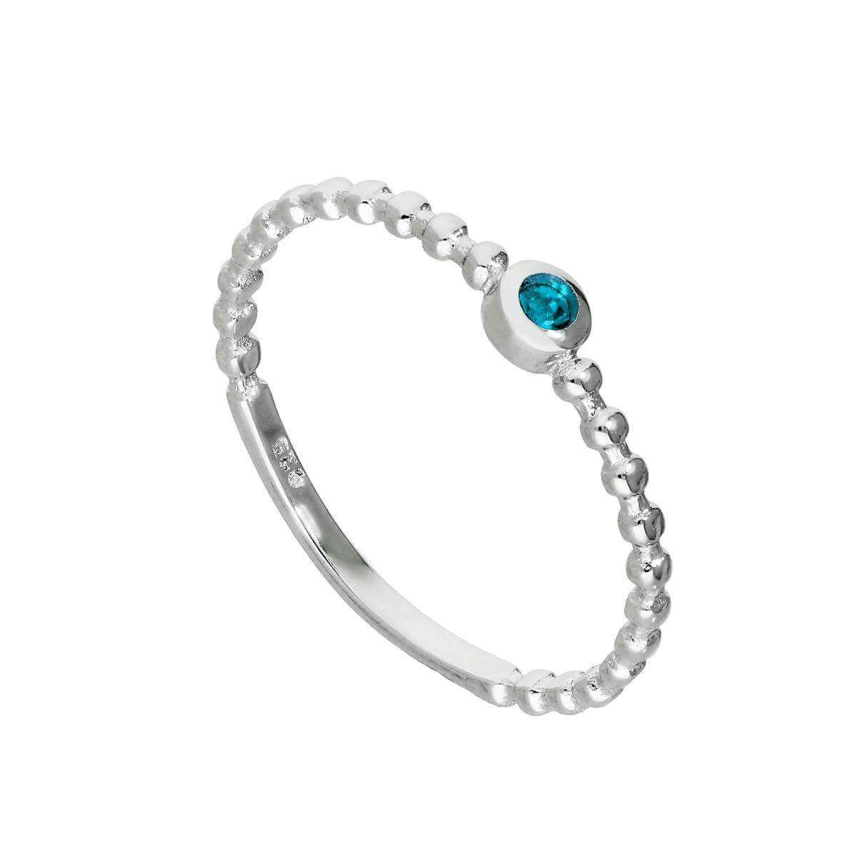 Sterling Silver & Aquamarine CZ Crystal March Birthstone Beaded Band Ring I - U