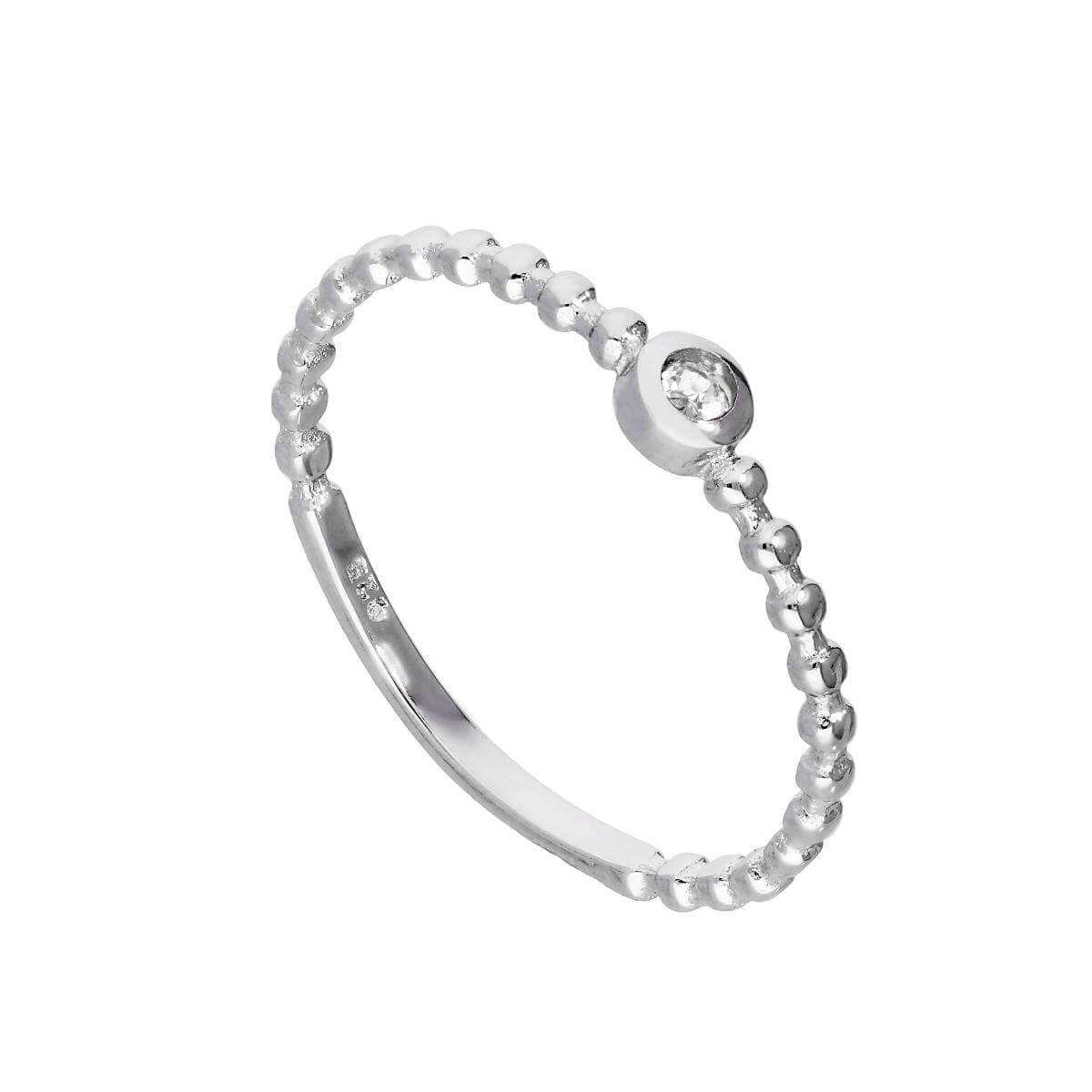 Sterling Silver & Clear CZ Crystal April Birthstone Beaded Band Ring I - U