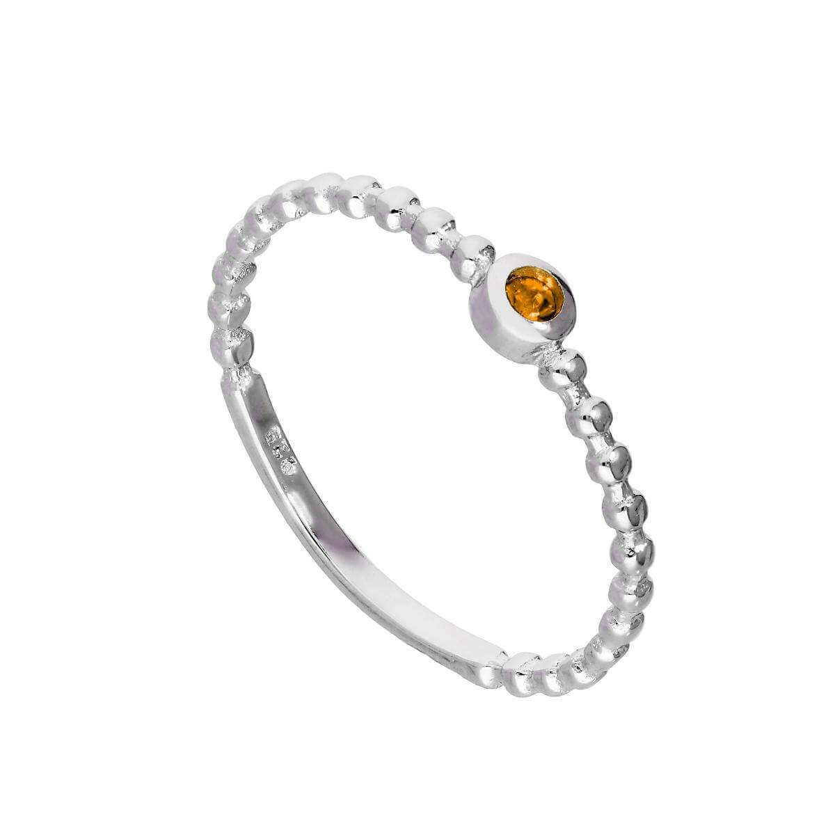 Sterling Silver & Citrine CZ Crystal November Birthstone Beaded Band Ring I-U