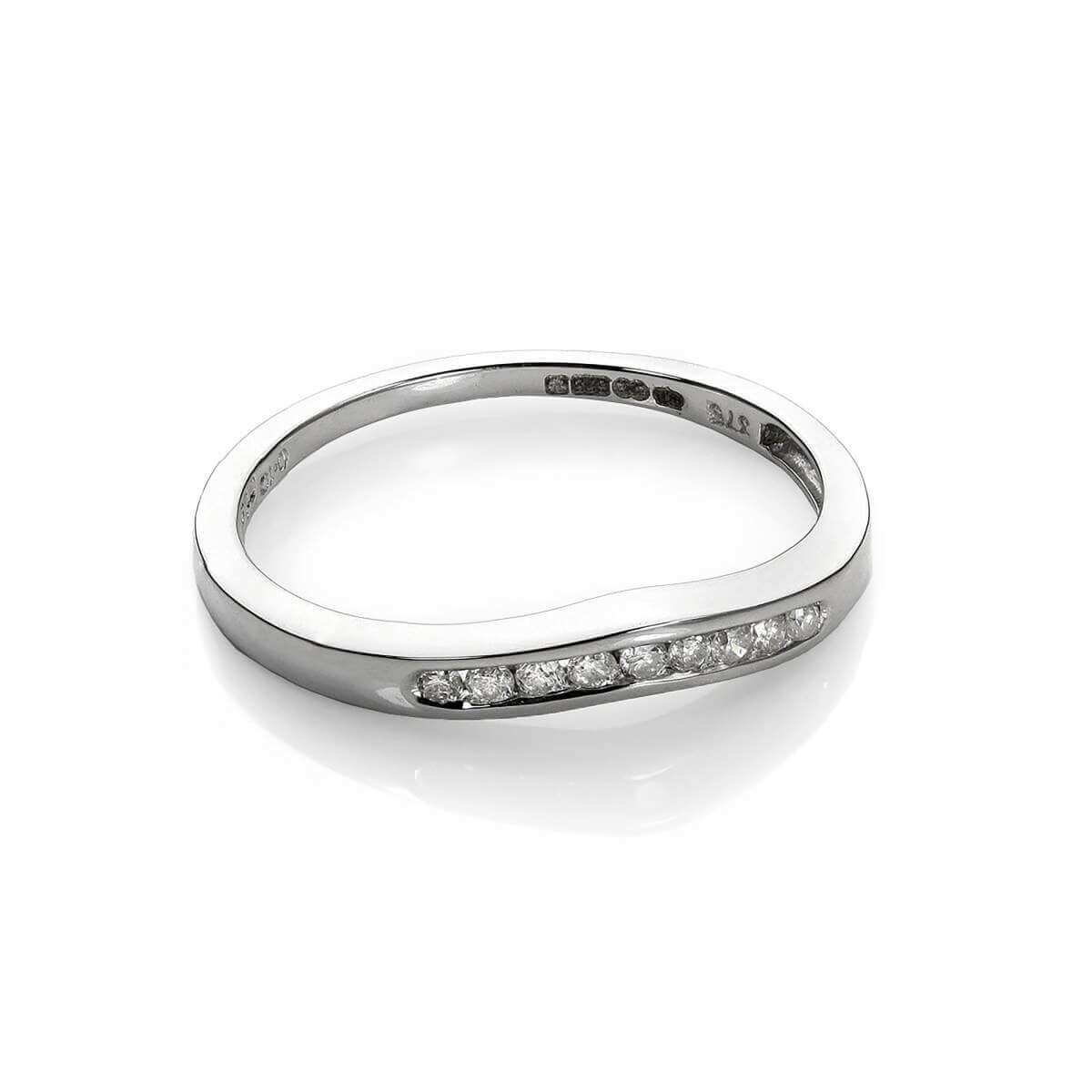 9ct White Gold 0.1ct Diamond Wishbone Ring