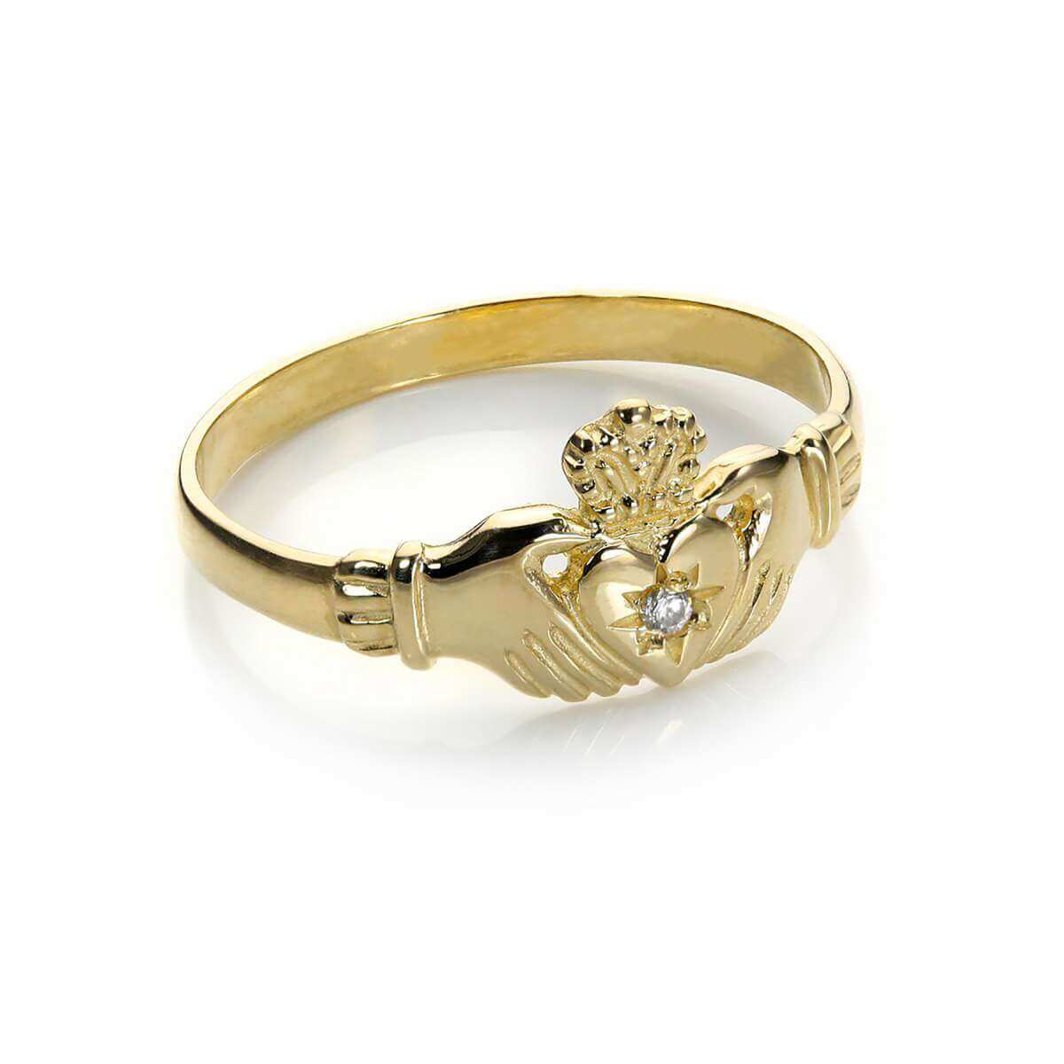 9ct Yellow Gold Clear Crystal Claddagh Ring