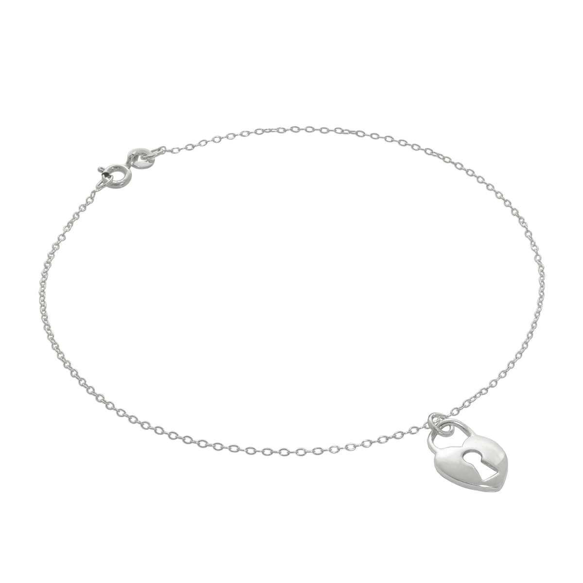 Fine Sterling Silver Belcher Anklet with Heart Padlock Charm - 10 Inches