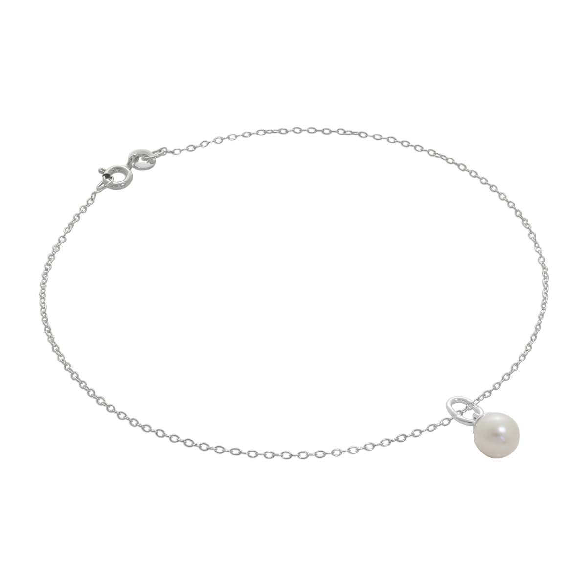 Fine Sterling Silver Belcher Anklet with Pearl Charm - 10 Inches