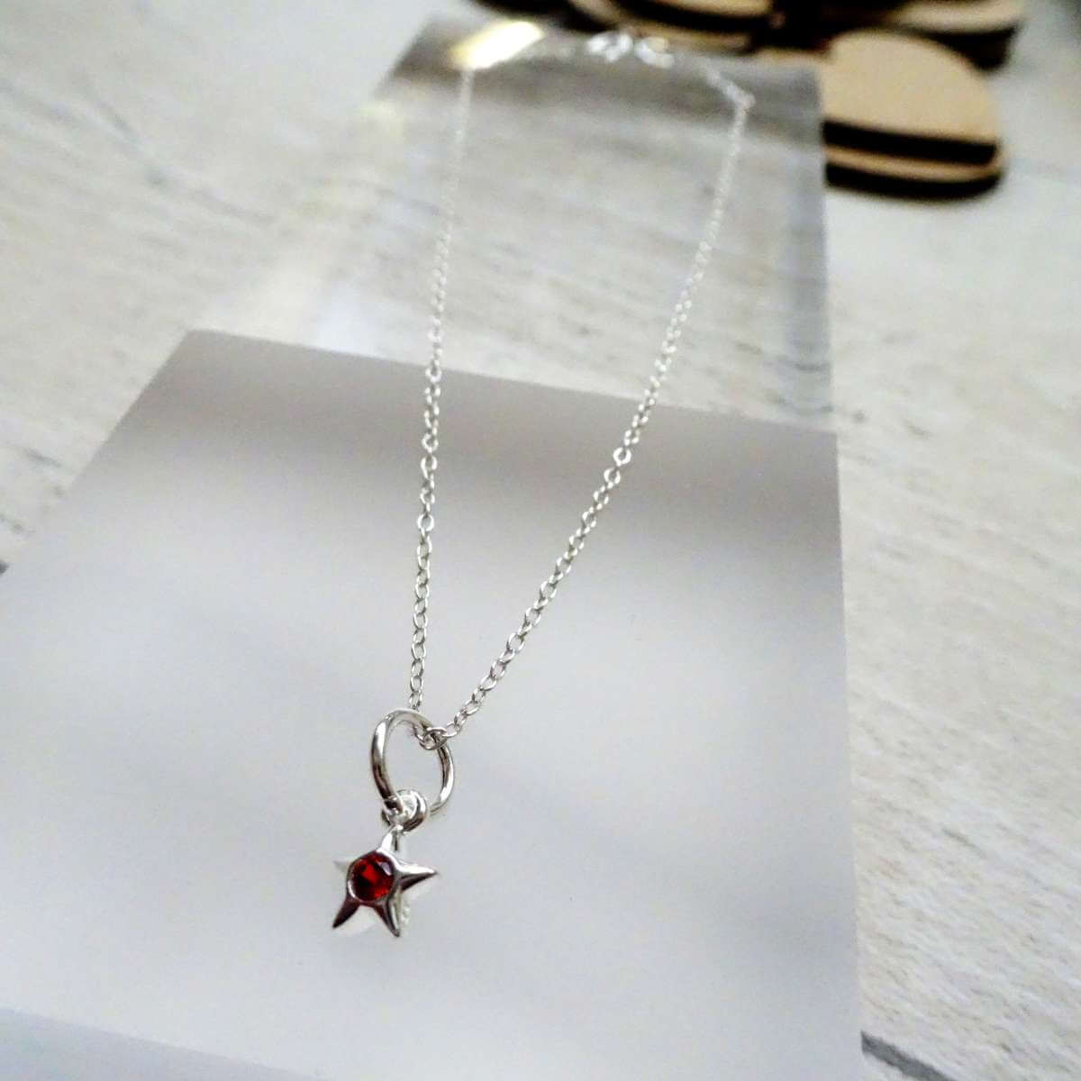 Fine Sterling Silver Belcher Anklet with CZ Crystal January Birthstone Star Charm - 10 Inches