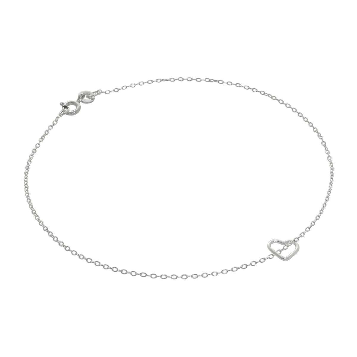 Fine Sterling Silver Belcher Anklet with Tiny Open Heart Charm - 10 Inches