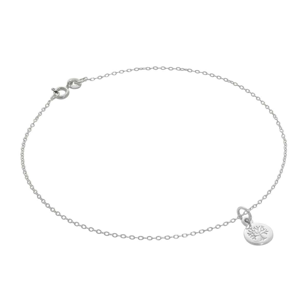 Fine Sterling Silver Belcher Anklet with Tiny Tree of Life Charm - 10 Inches