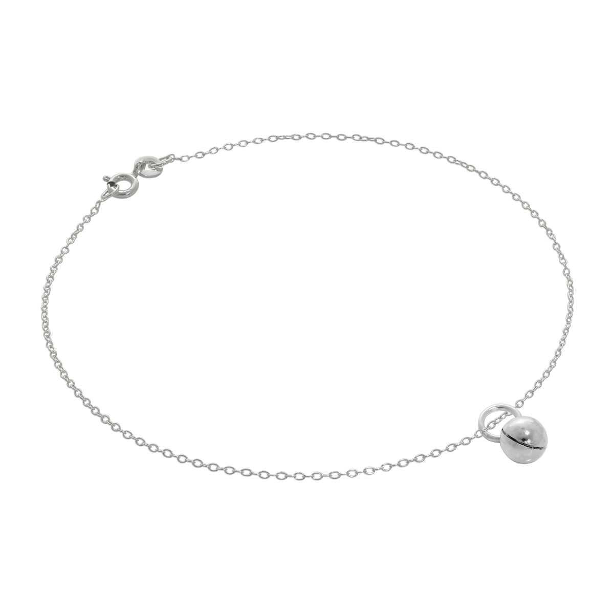 Fine Sterling Silver Belcher Anklet with Chiming Ball Charm - 10 Inches