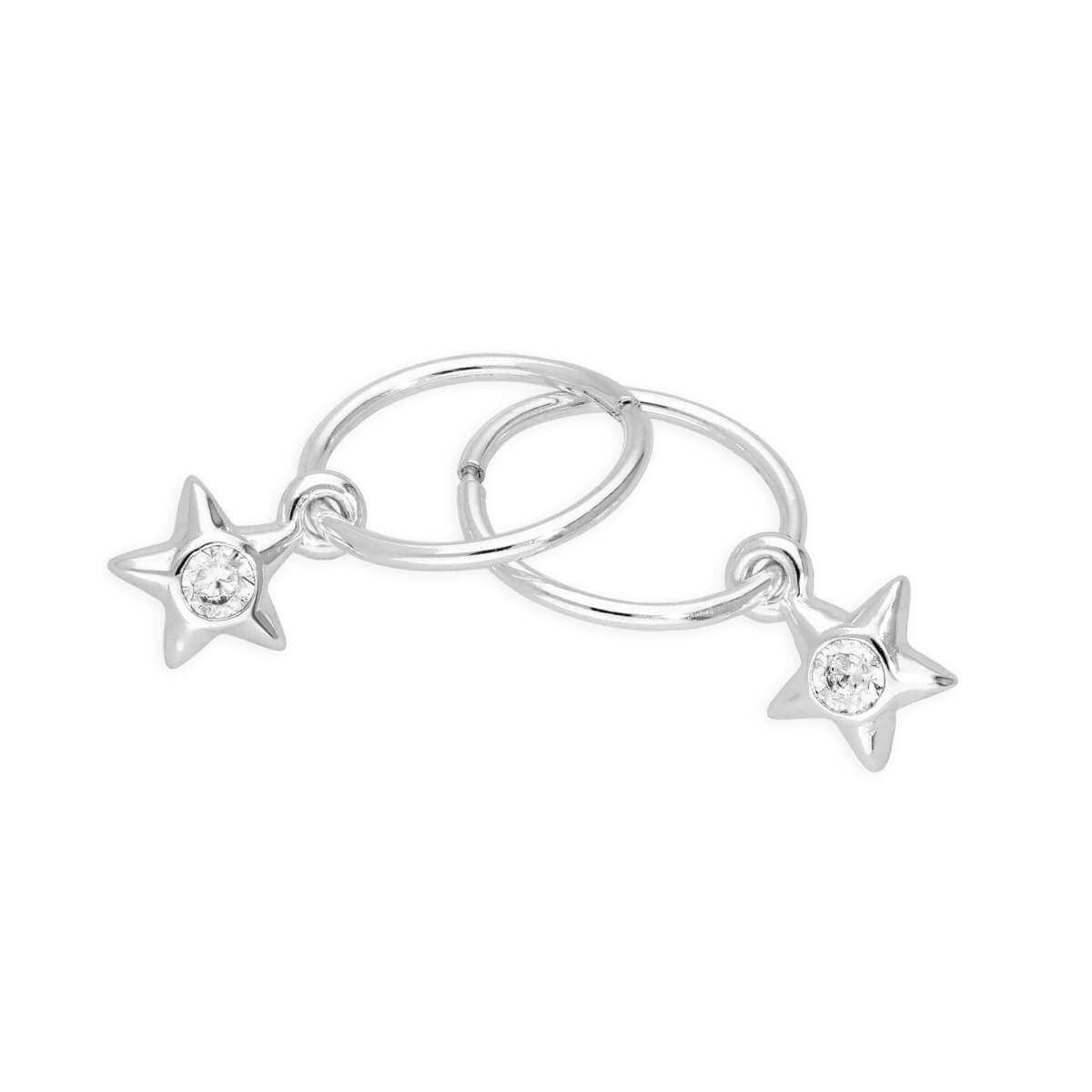 Sterling Silver CZ Crystal April Birthstone Star 10mm Sleeper Hoop Earrings
