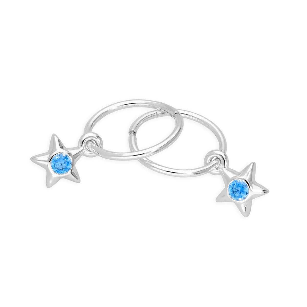 Sterling Silver CZ Crystal March Birthstone Star 10mm Sleeper Hoop Earrings