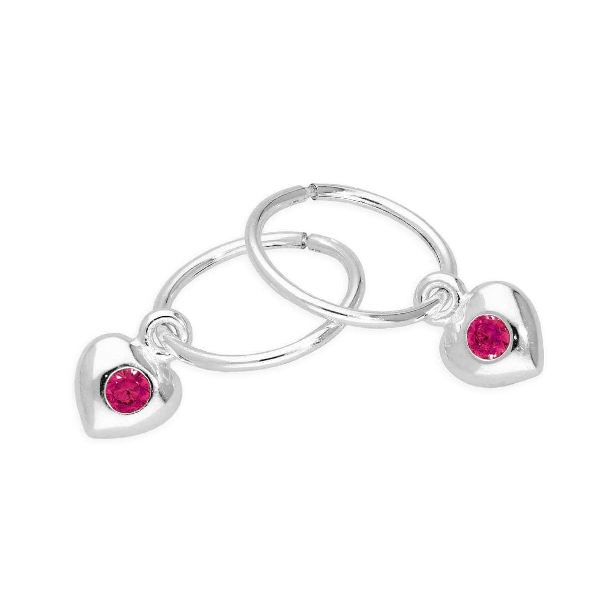 Sterling Silver CZ Crystal July Birthstone Heart 10mm Sleeper Hoop Earrings