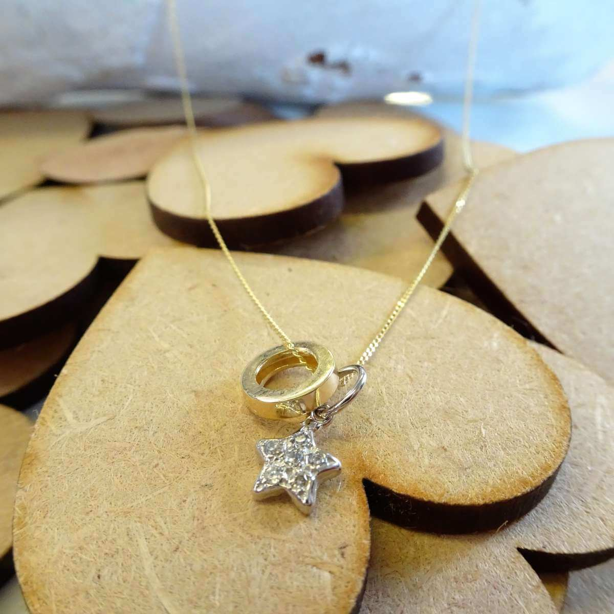 9ct Gold CZ Star & Karma Circle Necklace on Diamond Cut Curb Chain