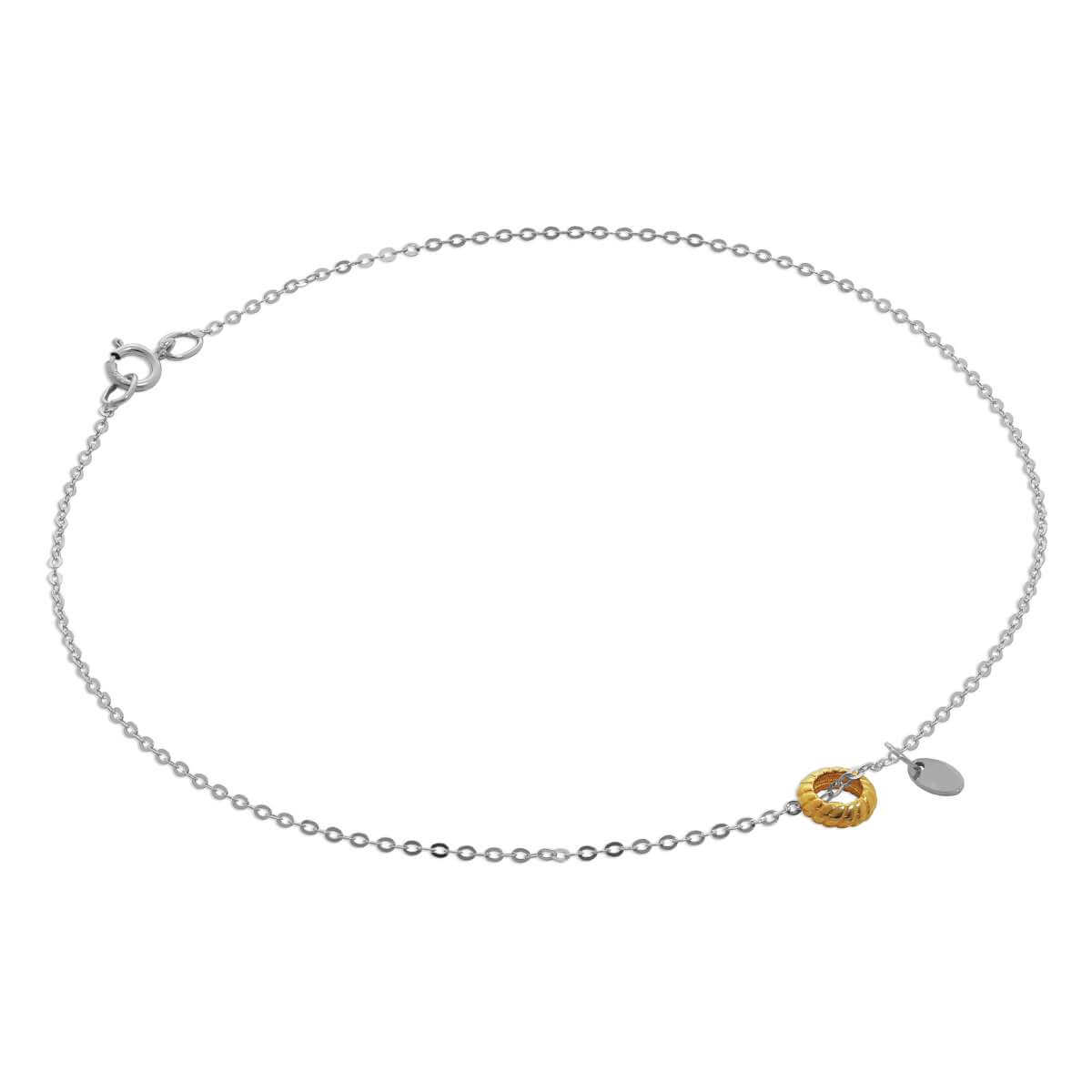 9ct Gold Hammered Trace Anklet with Karma Circle & Oval Tag