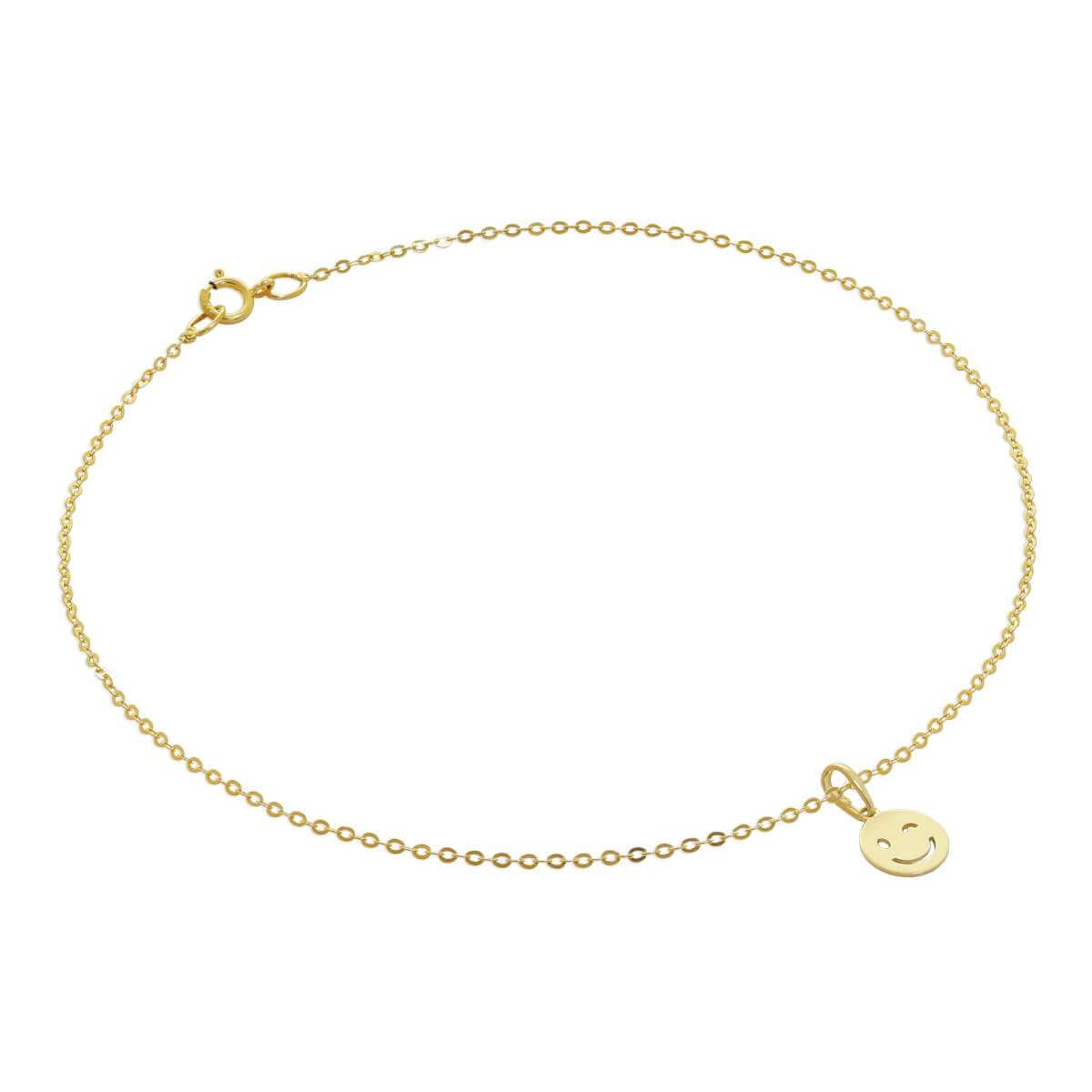 9ct Gold Hammered Trace Anklet with Winking Face Emoji Charm - 9.5 Inches