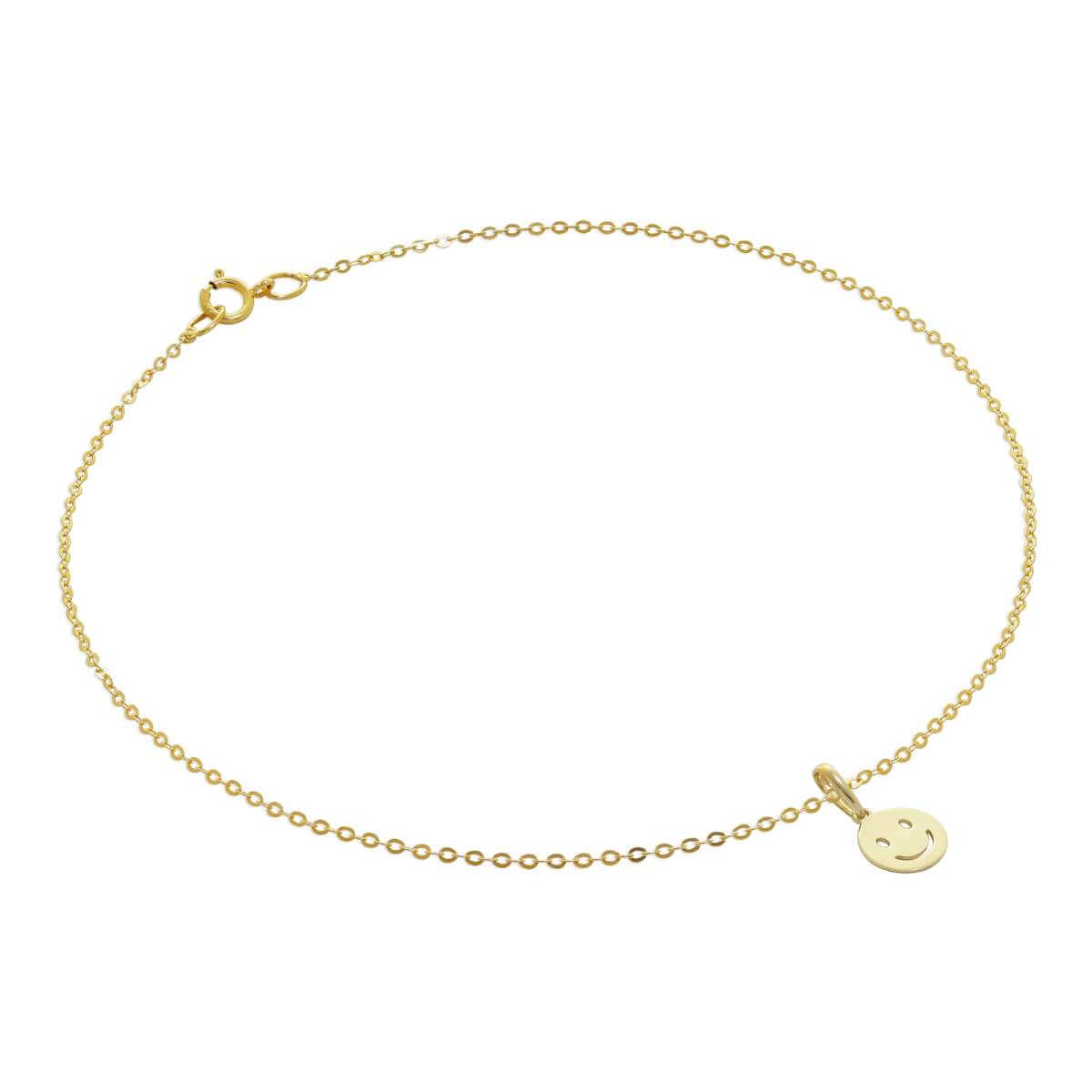 9ct Gold Hammered Trace Anklet with Smiling Face Emoji Charm - 9.5 Inches