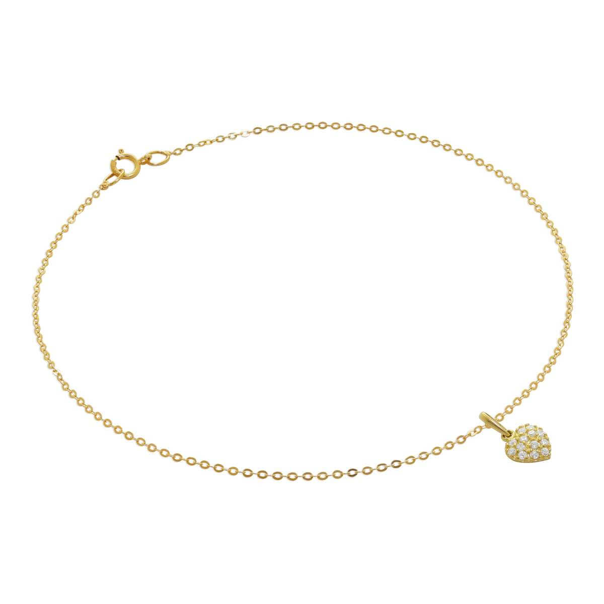 9ct Gold Hammered Trace Anklet with Flat CZ Heart Charm - 9.5 Inches