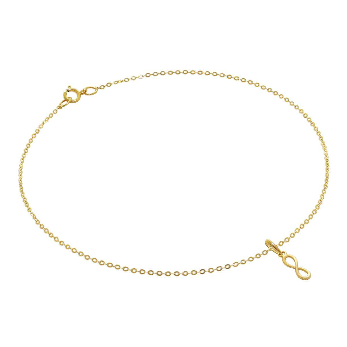 9ct Gold Hammered Trace Anklet with Infinity Charm - 9.5 Inches