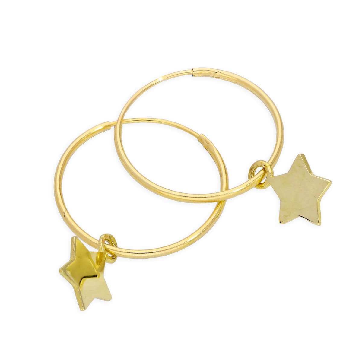 9ct Gold 10mm Charm Hoop Star Earrings