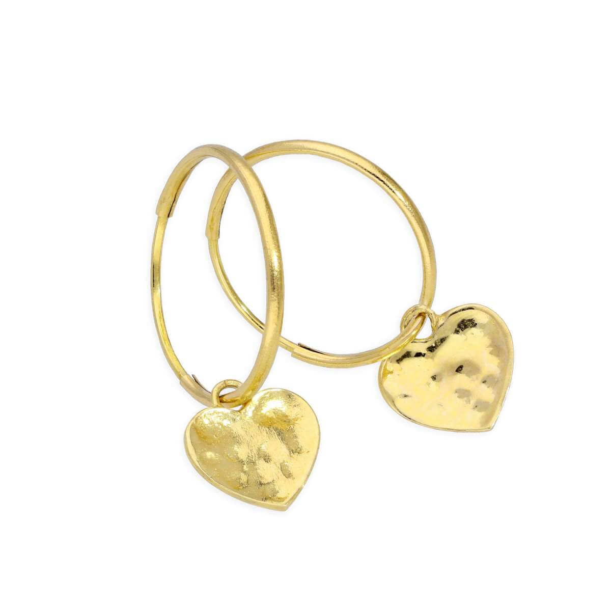 9ct Gold 10mm Charm Hoop Hammered Heart Earrings