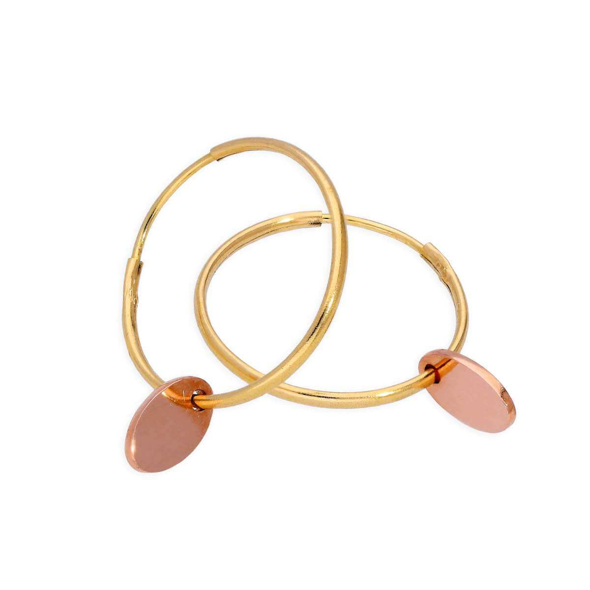 9ct Gold 13mm Charm Hoop Earrings with Tiny 9ct Rose Gold Oval Tags