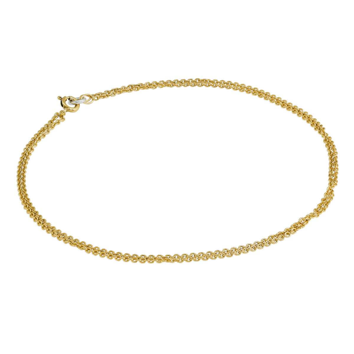 Gold Plated Sterling Silver 1mm Cable Double Chain Anklet - 10 Inches