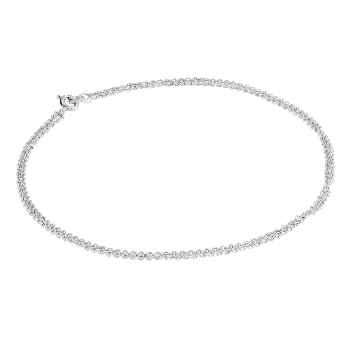 Sterling Silver 1mm Cable Double Chain Anklet - 10 Inches