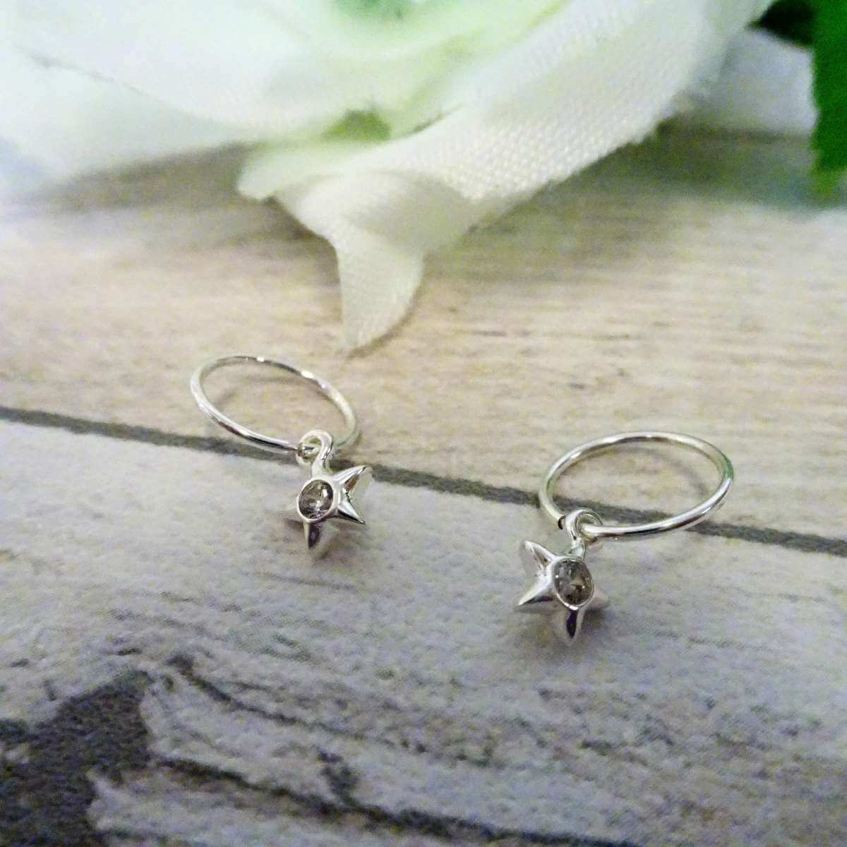 Sterling Silver CZ Crystal Star 10 - 22mm Sleeper Hoop Earrings