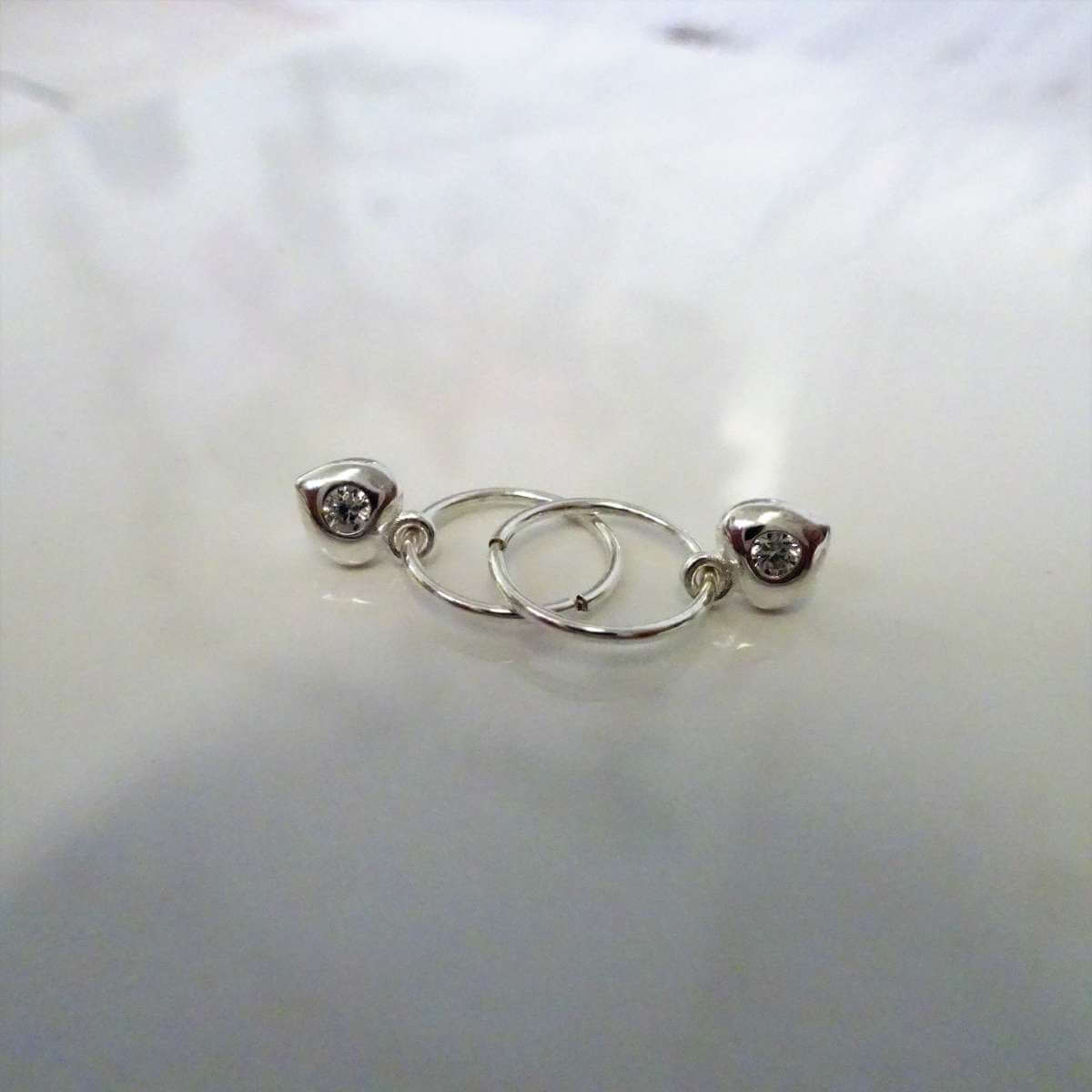 Sterling Silver CZ Crystal Heart 10 - 22mm Sleeper Hoop Earrings