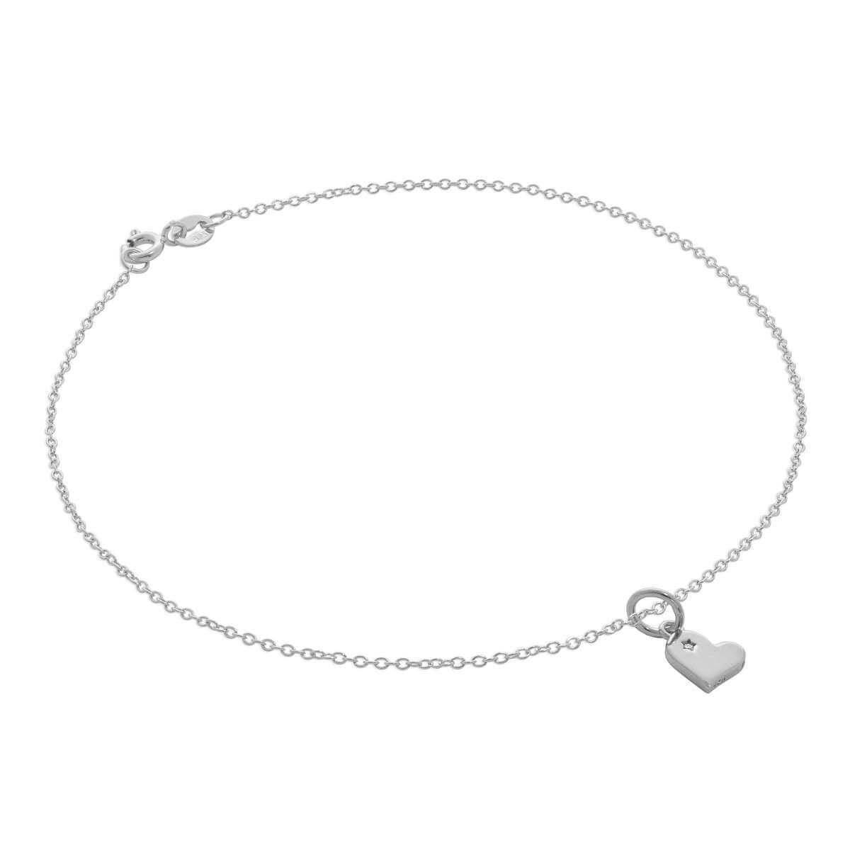 Sterling Silver Trace Chain Anklet with Genuine Diamond Heart Charm