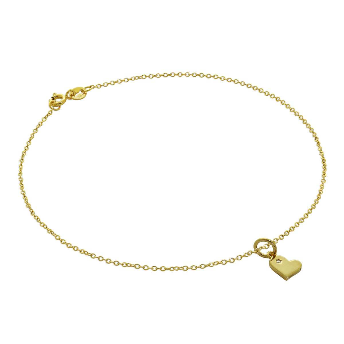 Gold Plated Sterling Silver Trace Chain Anklet with Genuine Diamond Heart Charm