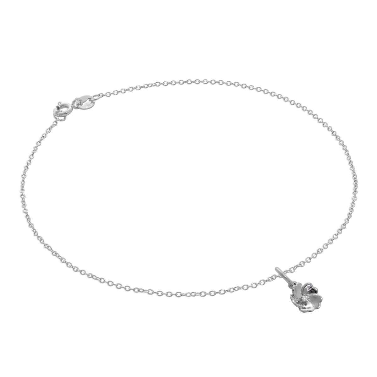 Sterling Silver Trace Chain Anklet with Genuine Diamond Flower Charm
