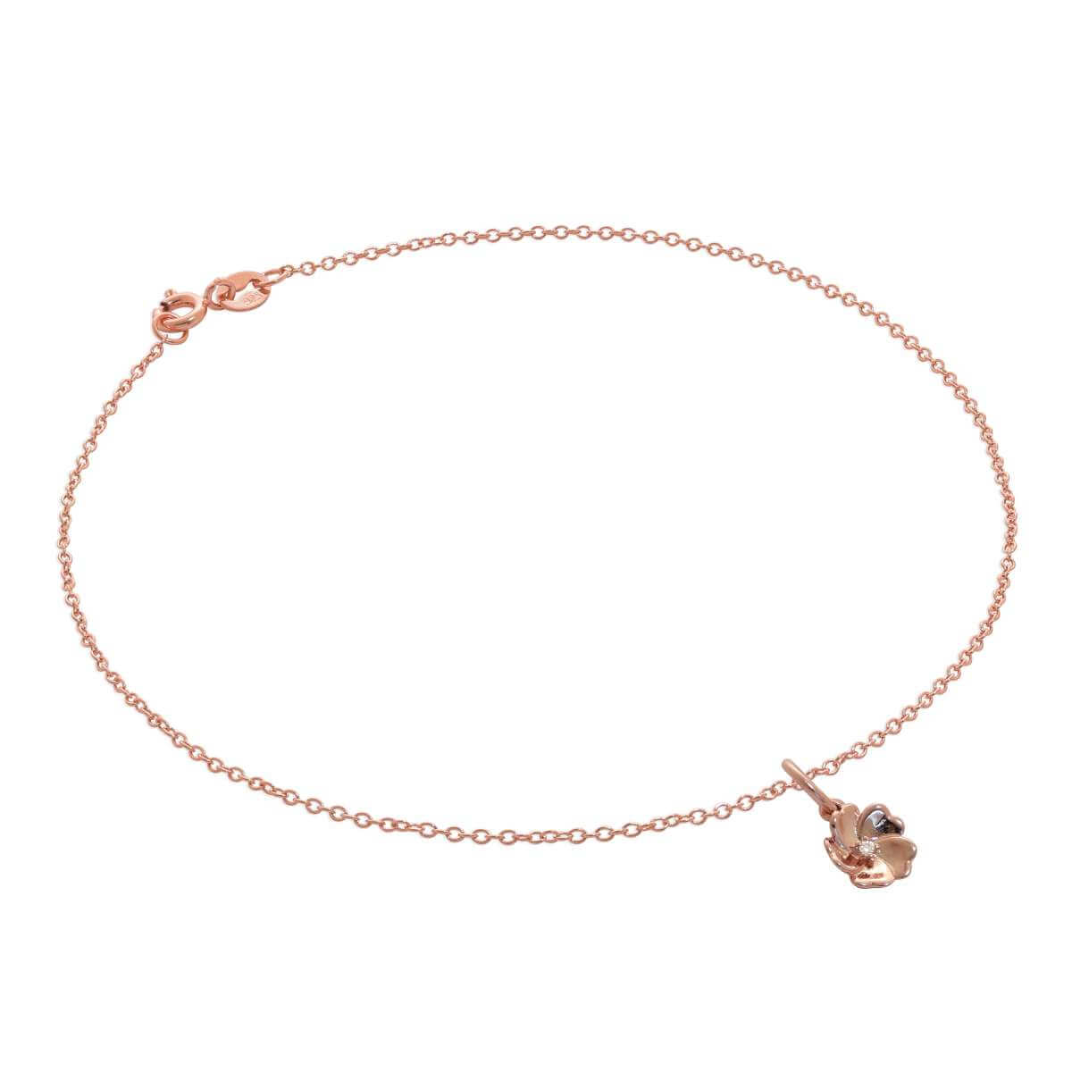 Rose Gold Plated Sterling Silver Trace Chain Anklet with Genuine Diamond Flower Charm