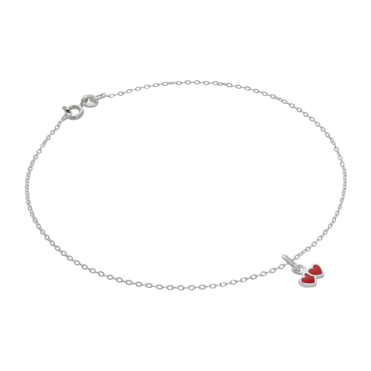 Fine Sterling Silver Belcher Anklet with Tiny Red Enamel Double Heart Charm