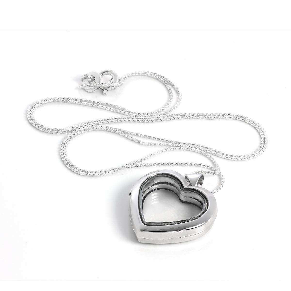 Sterling Silver Heart Shaped Floating Charm Locket Necklace on Chain
