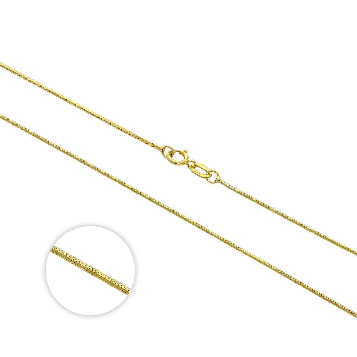 9ct Gold Diamond Cut 1mm Snake Chain 16 - 18 Inches
