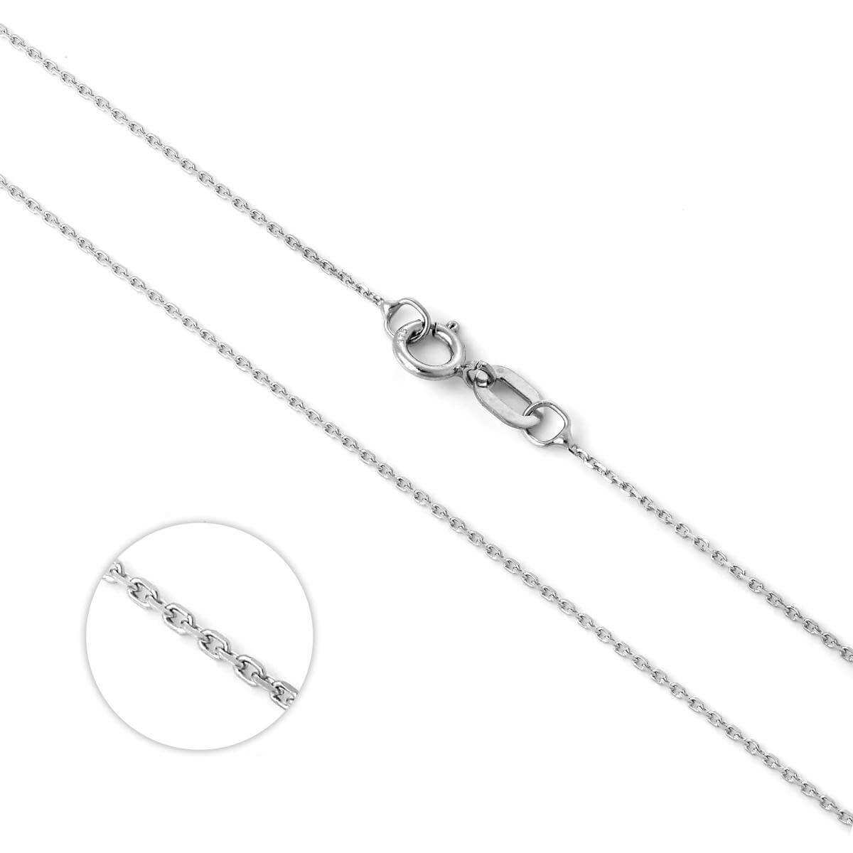 9ct White Gold Fine Belcher Chain 16 - 20 Inches