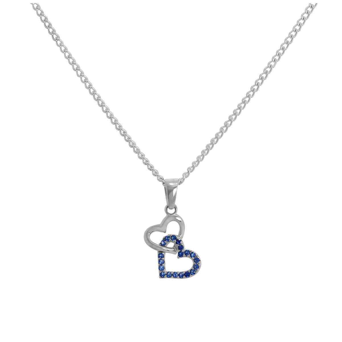 Sterling Silver & Blue CZ Crystal Entwined Hearts Pendant Necklace 16 - 24 Inches