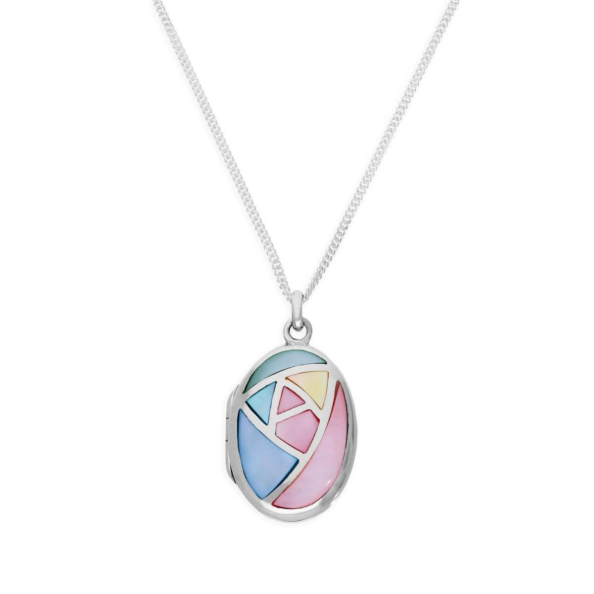 Sterling Silver & Pastel Coloured Mother of Pearl Oval Locket on Chain 16 - 24 Inches