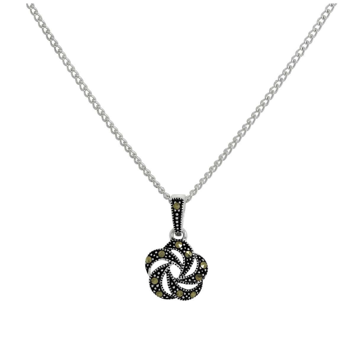 Sterling Silver & Marcasite Black Open Flower Pendant Necklace 16 - 24 Inches