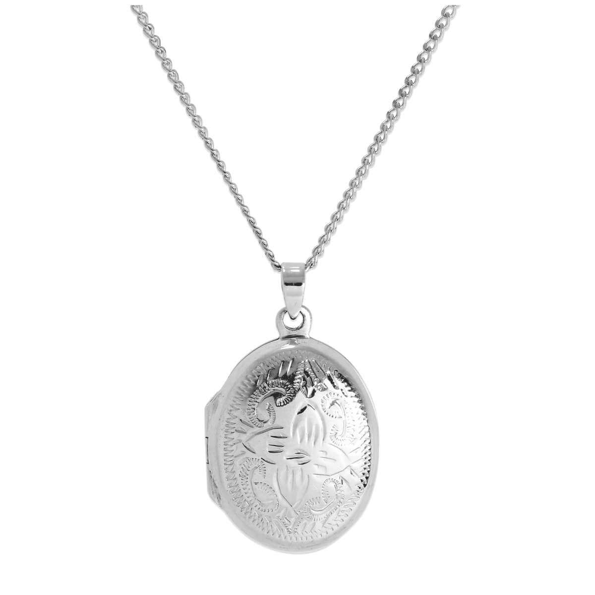 Sterling Silver Oval Flower Locket with Zig Zag Frame on Chain 16 - 24 Inches