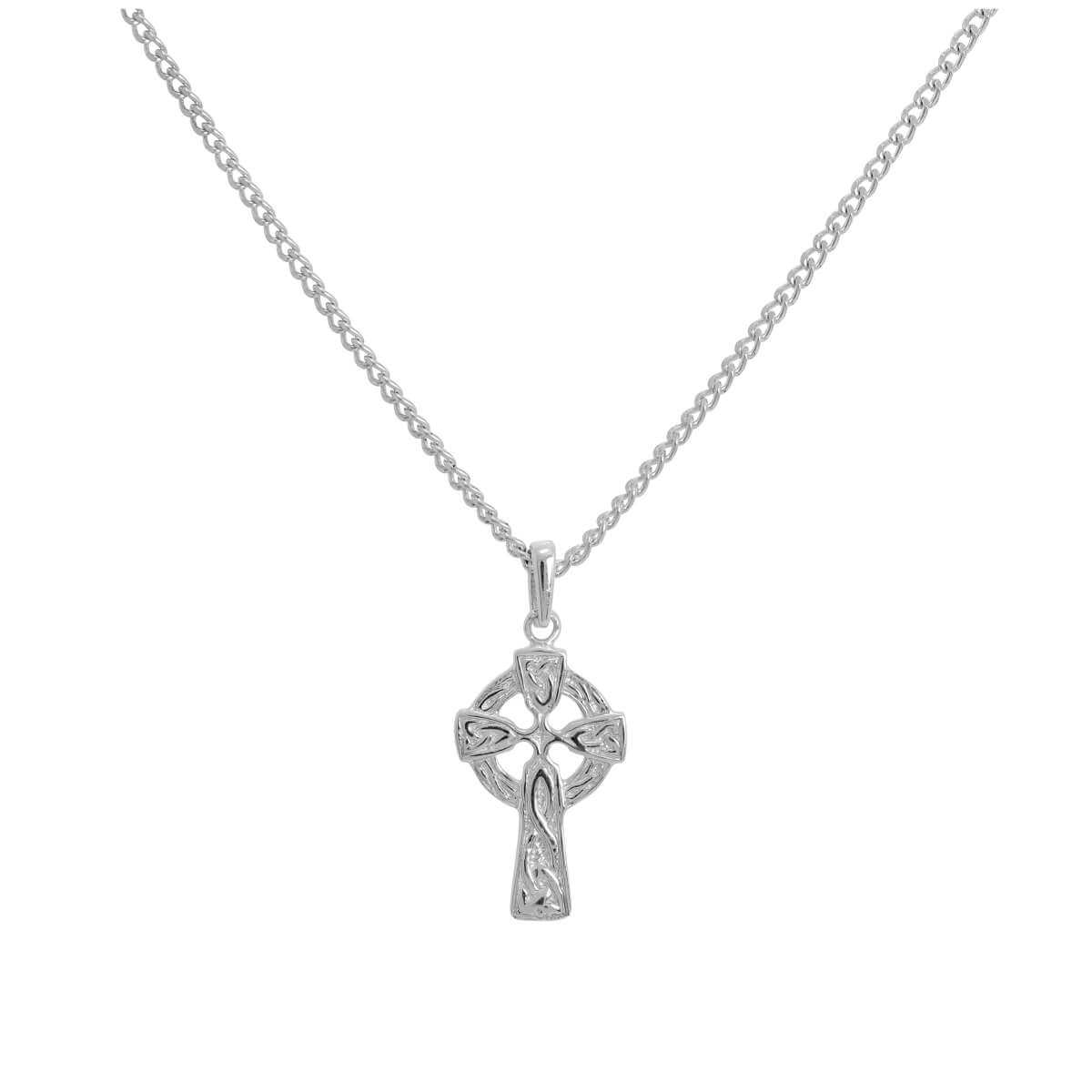 Small Sterling Silver Celtic Cross Pendant on Chain 16 - 24 Inches
