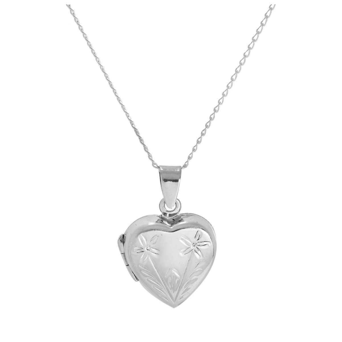 Sterling Silver Two Flowers Heart Locket on Chain 14 - 32 Inches