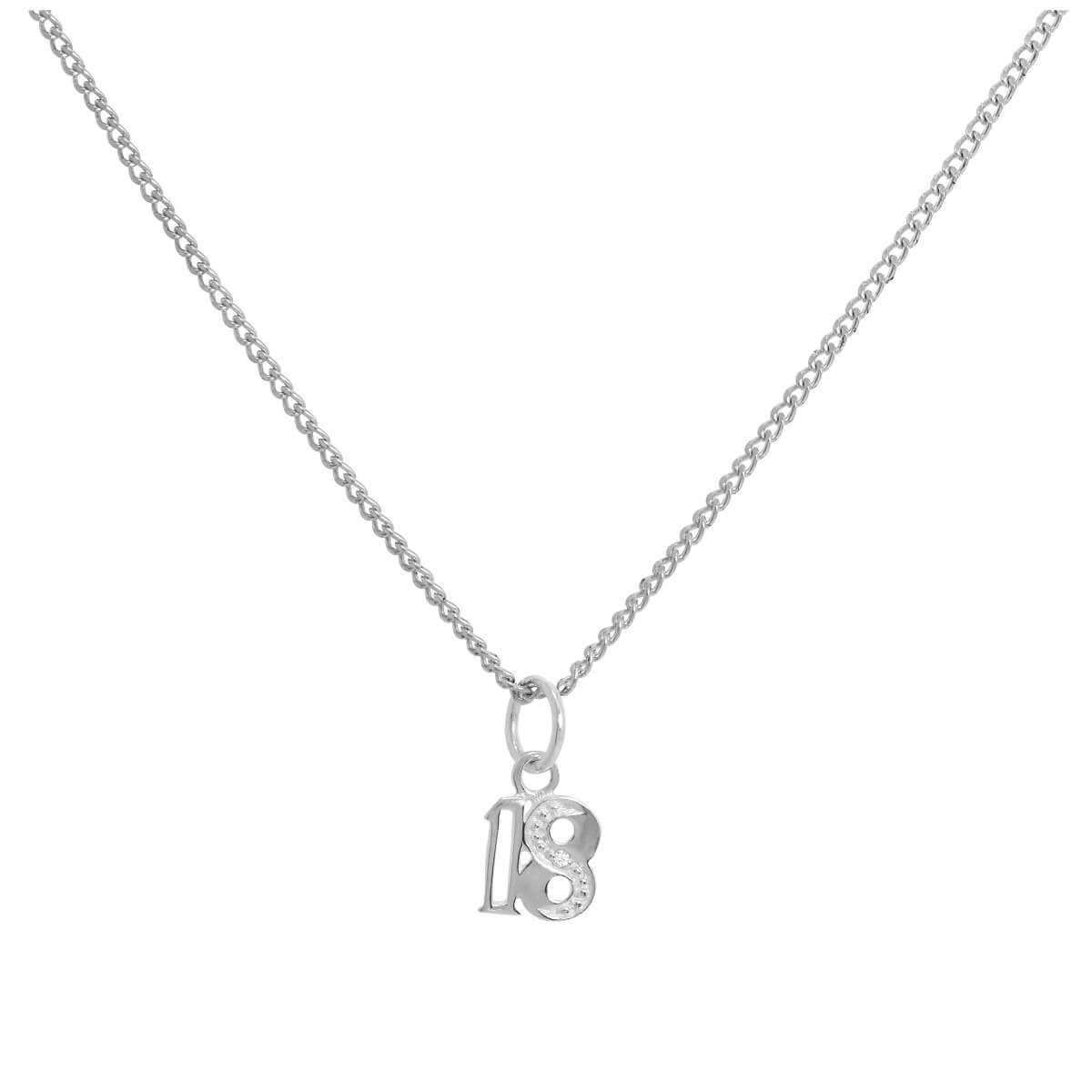 Sterling Silver & Clear CZ Crystal 18 Pendant Necklace 16 - 24 Inches