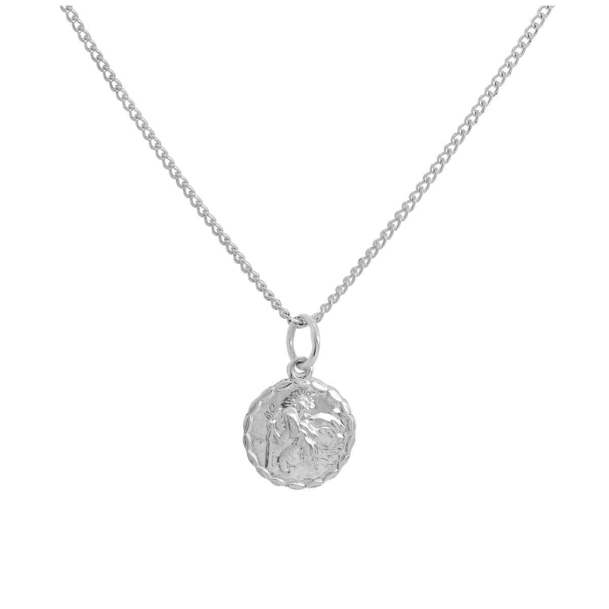 Tiny Sterling Silver Round St. Christopher Pendant Necklace 16 - 24 Inches