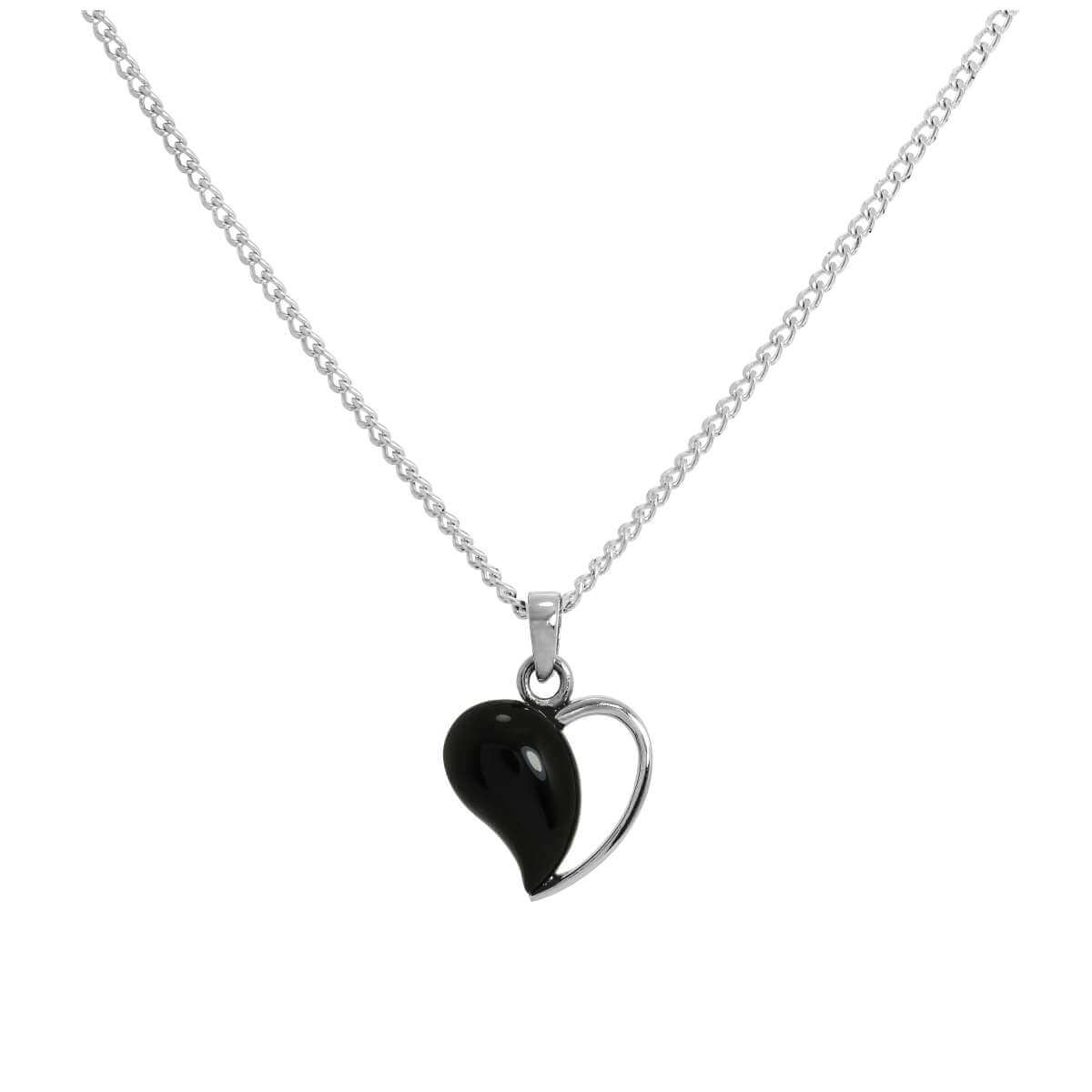 Sterling Silver & Onyx Open Heart Pendant Necklace 16 - 24 Inches