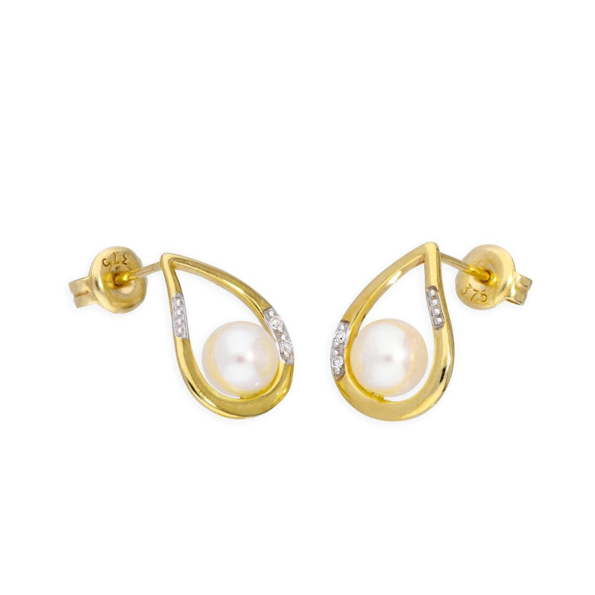 9ct Gold Open Teardrop & Freshwater Pearl Stud Earrings with Diamonds