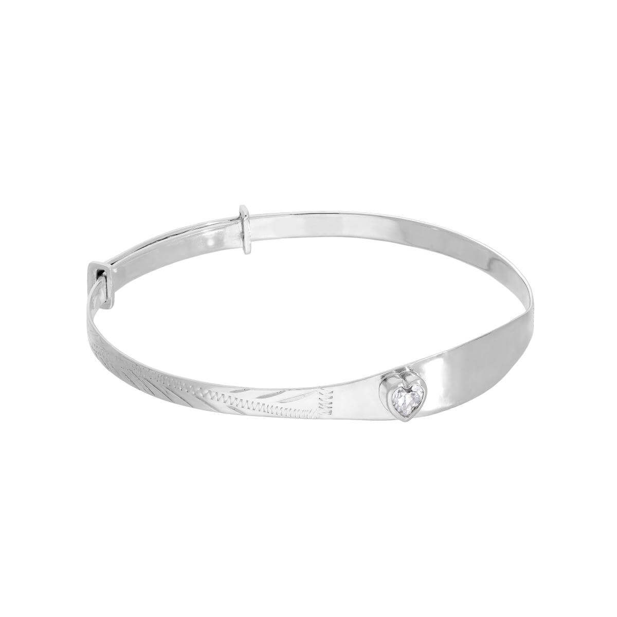 Sterling Silver & Clear CZ Crystal Birthstone Heart Maiden Bangle